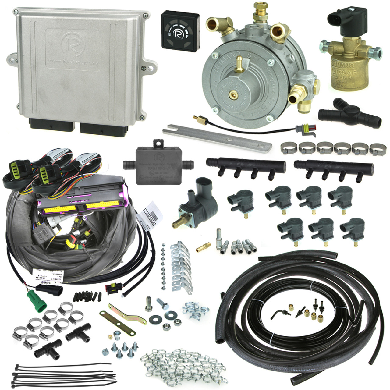 Romano Antonio 8 Cylinders Injection System Autogas Lpg Conversion Kit With Reducer Injectors And All Accessories