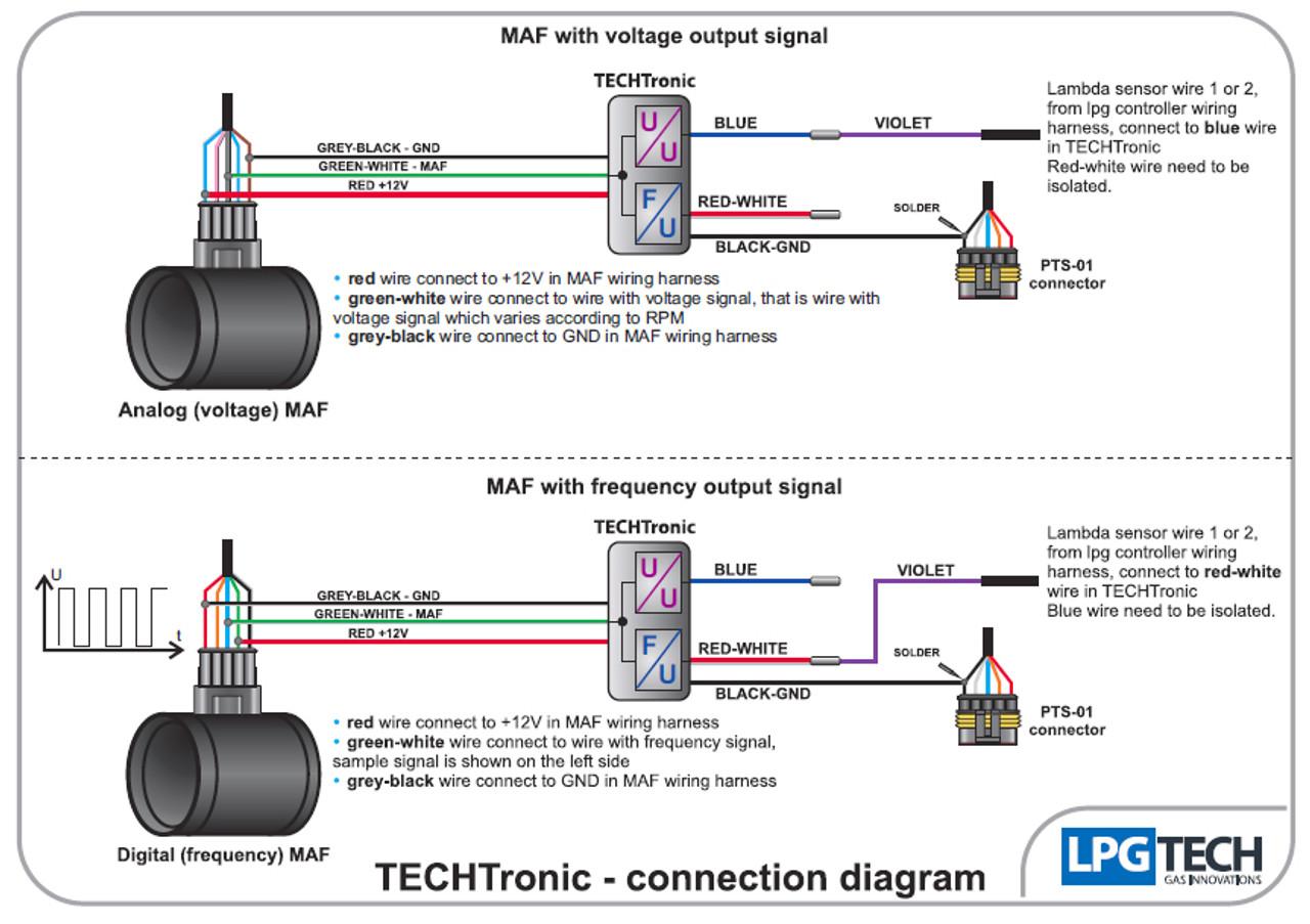 lpgtech techtronic maf signals converter for valvetronic lpg autogas connection  diagram