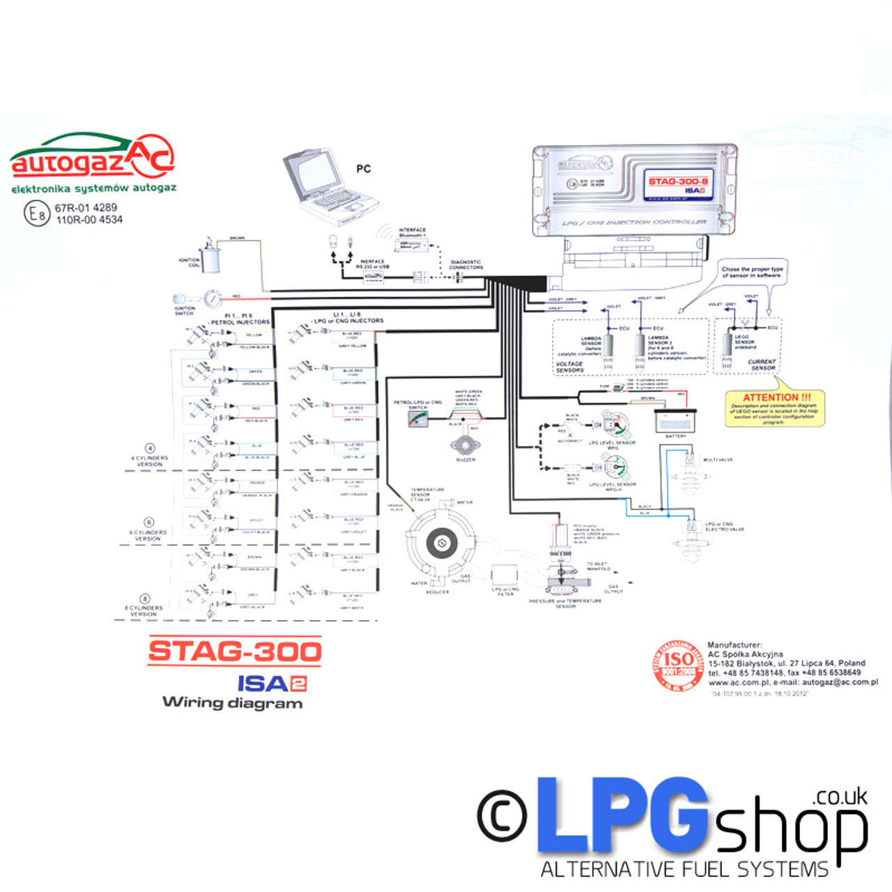 wiring � ac stag-300-8 isa2 8 cylinder ecu controller kit lpg autogas  propane connection