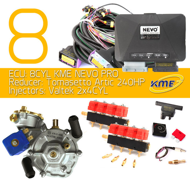 kme nevo PRO obd 8 cylinders lpg conversion kit tomasetto artic valtek injectors autogas cng