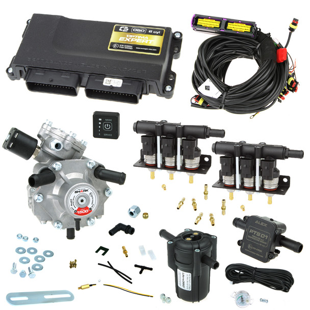 6 cylinder autogas conversion kit: Optima Expert OBD with Shark 1500 reducer and Barracuda injectors