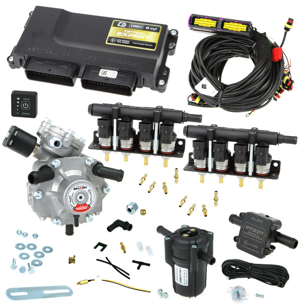 8 cylinder autogas conversion kit: Optima Expert OBD with Shark 1500 reducer and Barracuda injectors