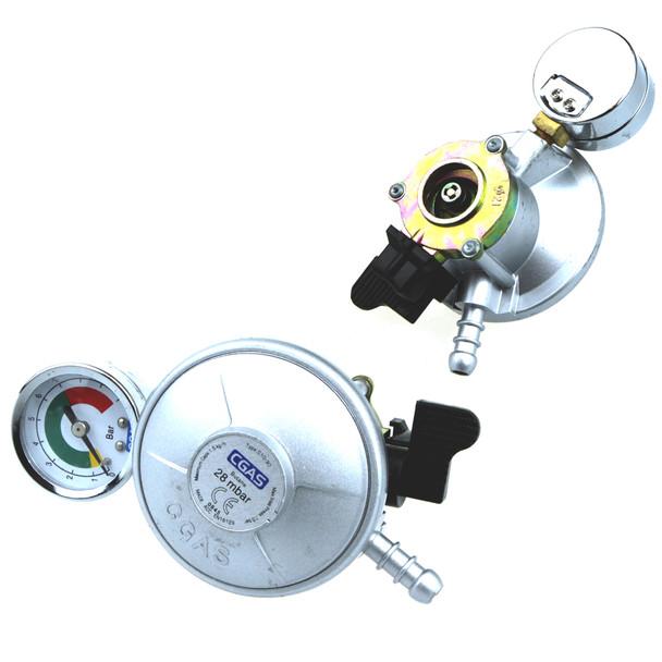 Butane Snap on 21mm Low Pressure Regulator 28mbar with gauge