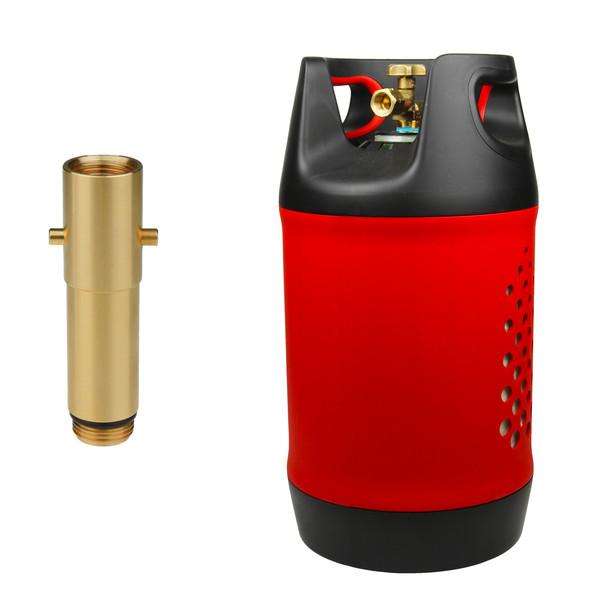 Composite lightweight bottle with UK POL G5/8 LH connector and UK Bayonet filler