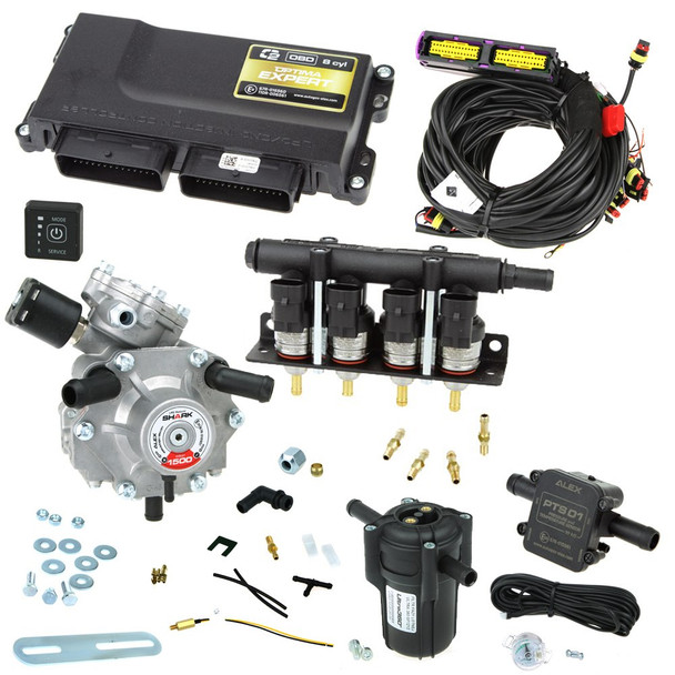 4 cylinder autogas conversion kit: Optima Expert OBD with Shark 1500 reducer and Barracuda injectors