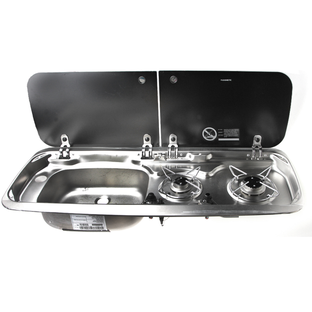 2-burner hob / sink combination with glass lids - LEFT front