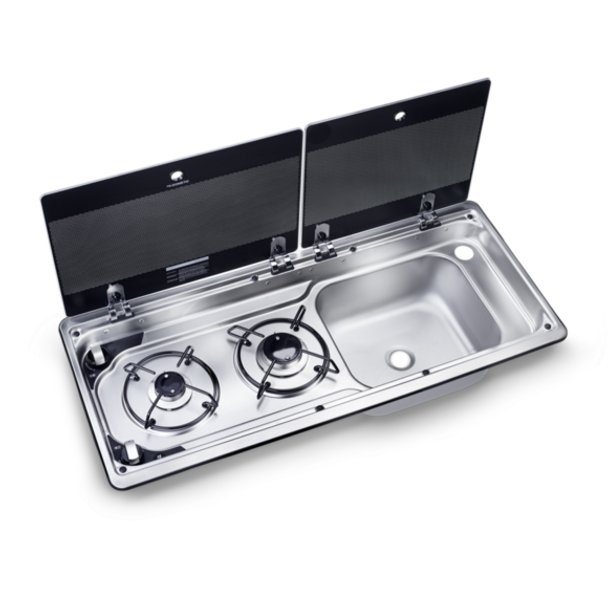 Dometic MO 9722R Two-burner Hob Sink Combination for Motorhomes open