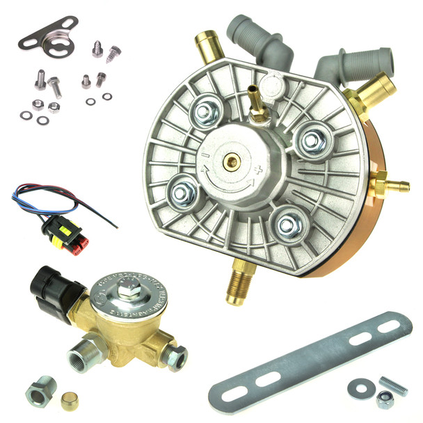 KME autogas lpg gas reducer regulator converter 300bhp high power vapourizer two outlets 12mm 8mm inlet