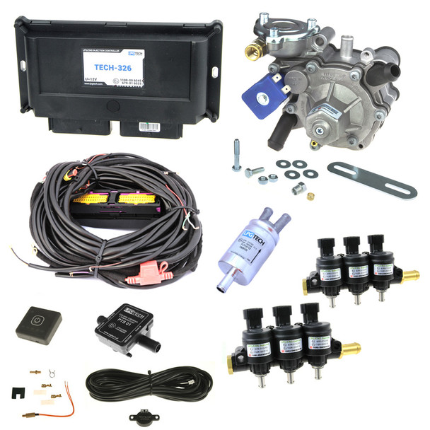 lpgtech 326 non obd 6 cylinder autogas sequential injection with tomasetto reducer and hana 2002 injectors