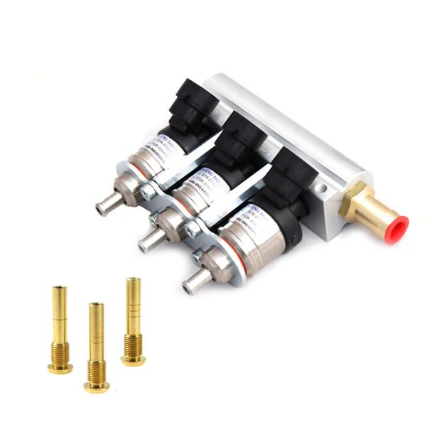 HANA H2001 GOLD - 3 Cylinder Rail Mount with Aluminium Rail, Valtek connector, LPG/CNG Injector