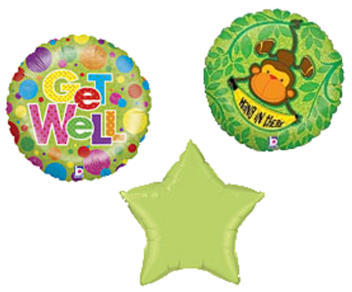 Get Well Bouquet 3 Balloons, Male (Assorted)