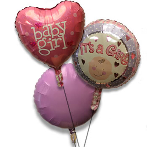 Bouquet of 3 Balloons, Baby Girl Pink (Assorted)