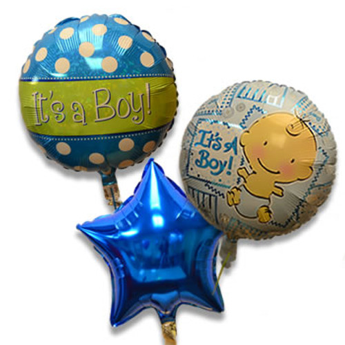 Bouquet of 3 Balloons, Baby Boy Blue (Assorted)
