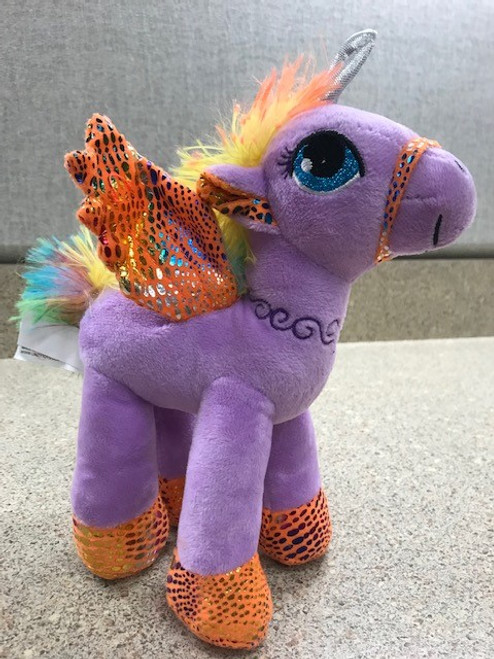 Purple Unicorn with Orange Wings and Hooves