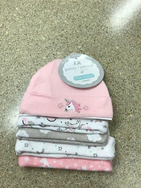 Infant Baby Girl Unicorn Cotton Hat Set of 5