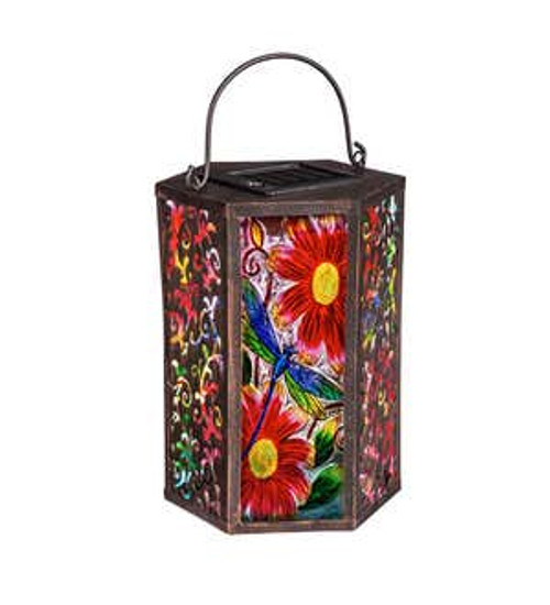 Solar Powered Octagon Dragonfly with Flowers Lantern (Evergreen)