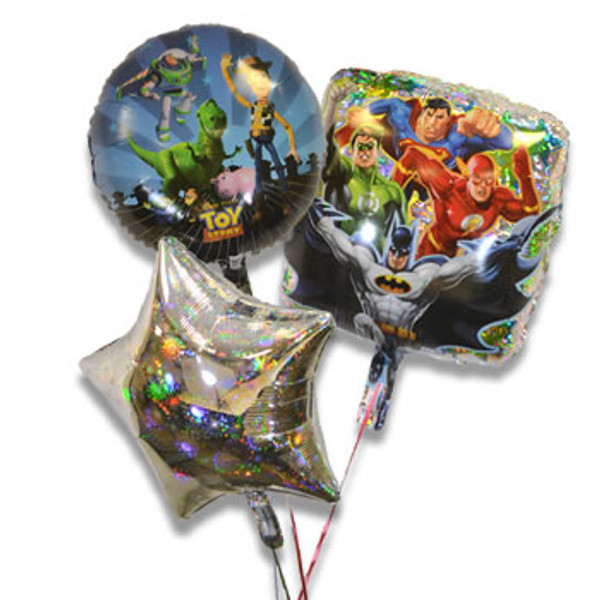 Bouquet of 3 Balloons, Boy Characters (Assorted)