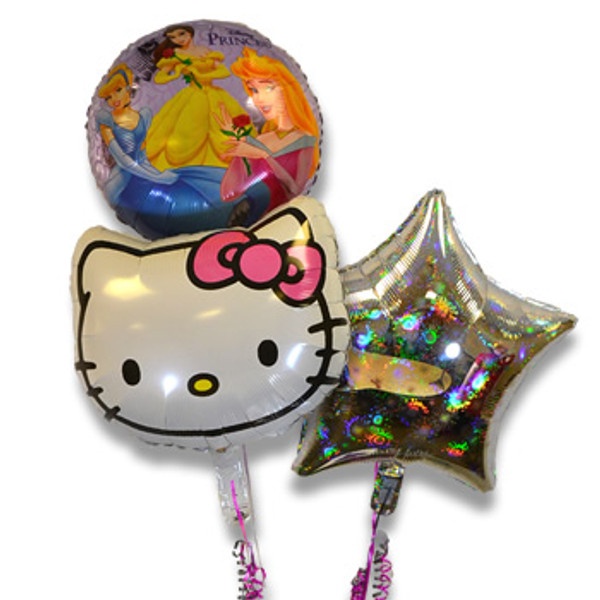 Bouquet of 3 Balloons, Girl Characters (Assorted)