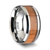 BRUNSWICK Tungsten Wedding Ring with Polished Bevels and Black Cherry Wood Inlay - 6 mm - 10 mm