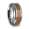 TEKKU Wood Tungsten Ring with Polished Bevels and Teak Wood Inlay - 6mm - 10mm