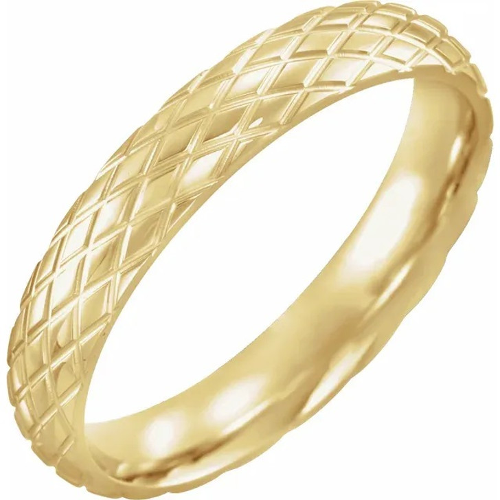 Comfort Fit Gold Mens Womens Wedding Band Polished 10K/14K/18K  Rose/White/Yellow Gold Rhombus Patterned Ring 4mm Wide