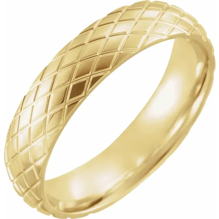 Comfort Fit Gold Mens Womens Wedding Band Polished 10K/14K/18K  Rose/White/Yellow Gold Rhombus Patterned Ring 5mm Wide