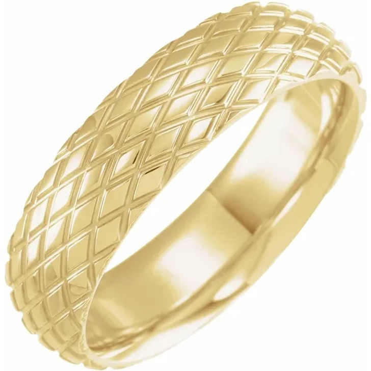 Comfort Fit Gold Mens Womens Wedding Band Polished 10K/14K/18K  Rose/White/Yellow Gold Rhombus Patterned Ring 6mm Wide