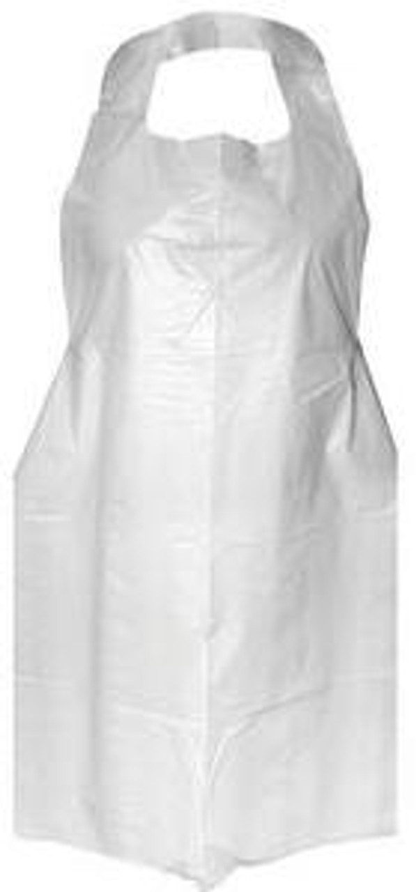 White Disposable Aprons / Bibs, 1mil, 100 Pack