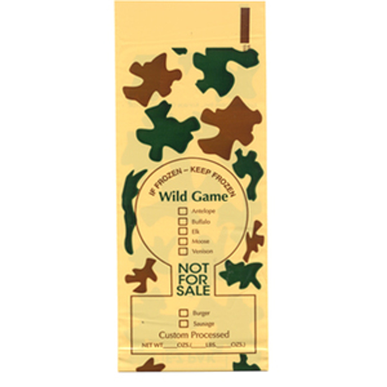 """2 lb Wild Game Camo Poly Meat Bags """"Not for Sale"""" 1000 Count."""