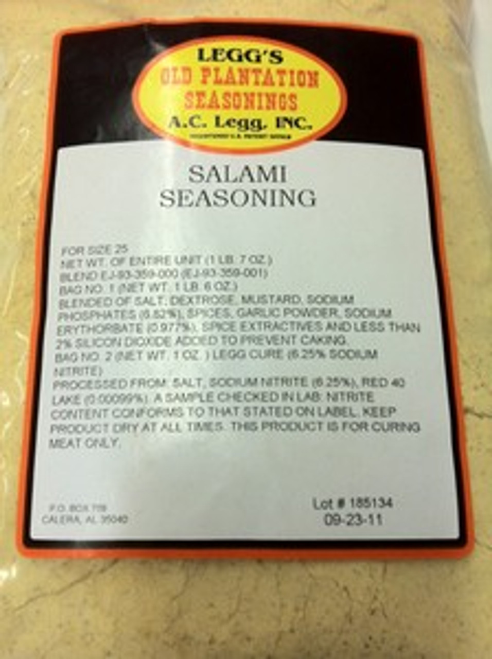 A. C. Legg's Old Plantation Salami Seasoning (with cure ...