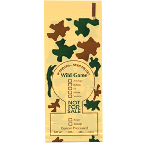 """2 lb Wild Game Camo Poly Meat Bags """"Not for Sale"""" 250 Count."""
