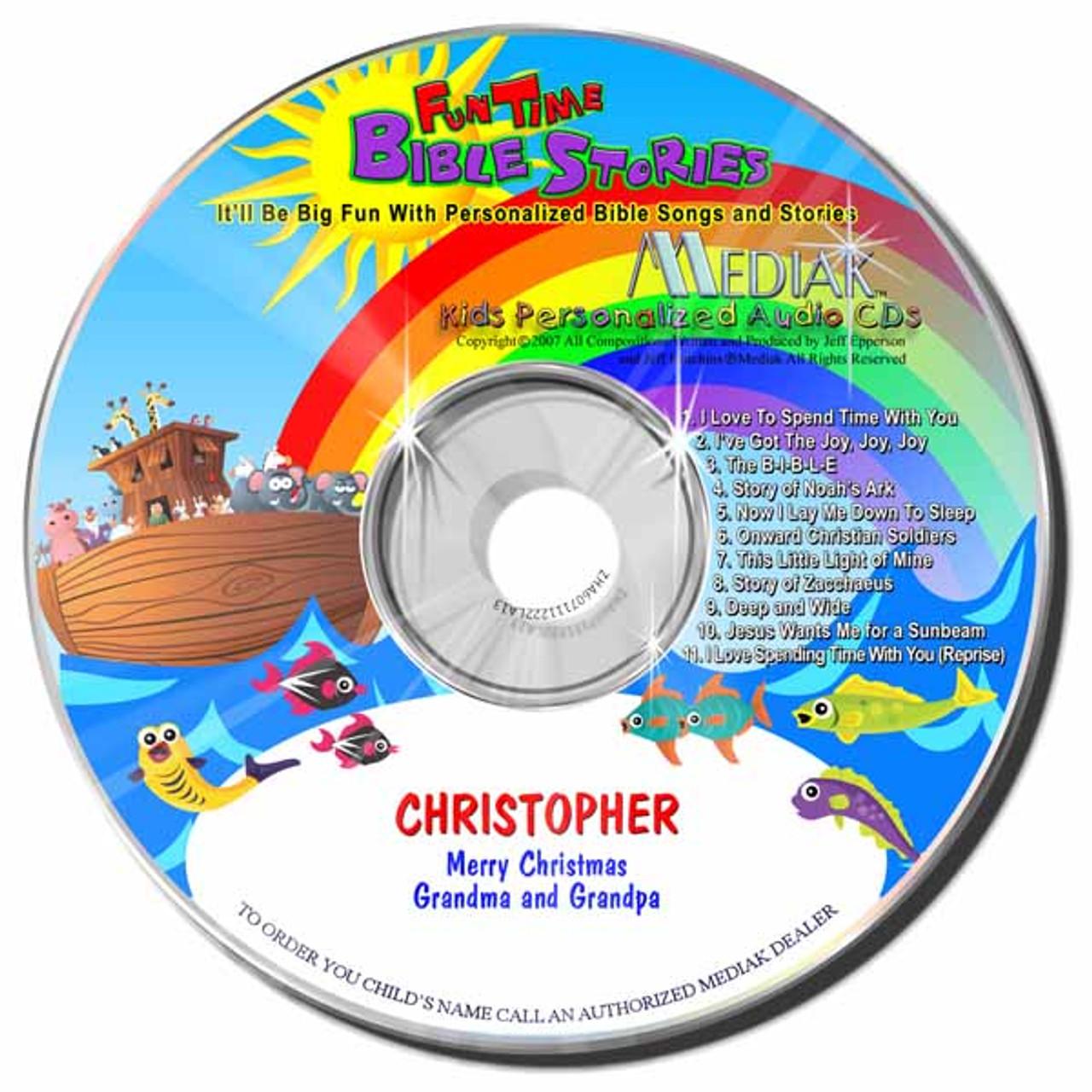 Fun Time Bible Stories Personalized Kids Music CD by Mediak