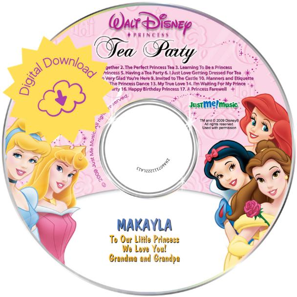 Personalized Kids Digital Download Disney Princess Tea Party