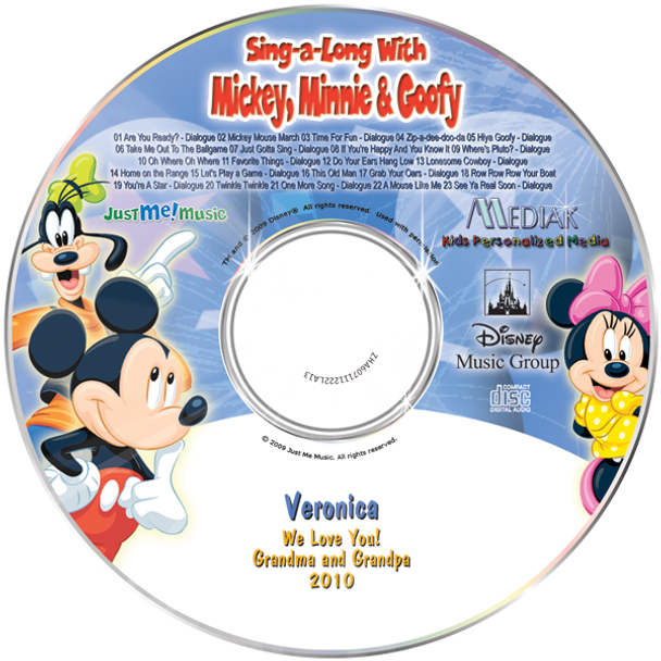 Personalized Kids Music CD Disney Mickey Minnie and Goofy Sing a Long