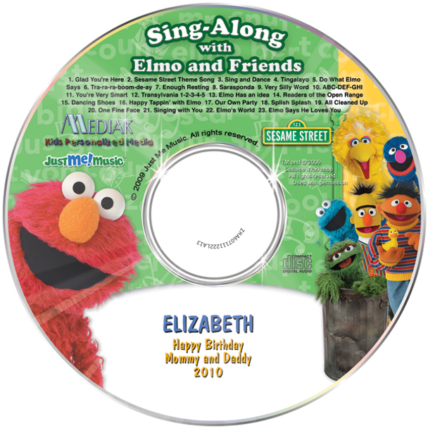 Personalized Kids Music CD Elmo and Friends