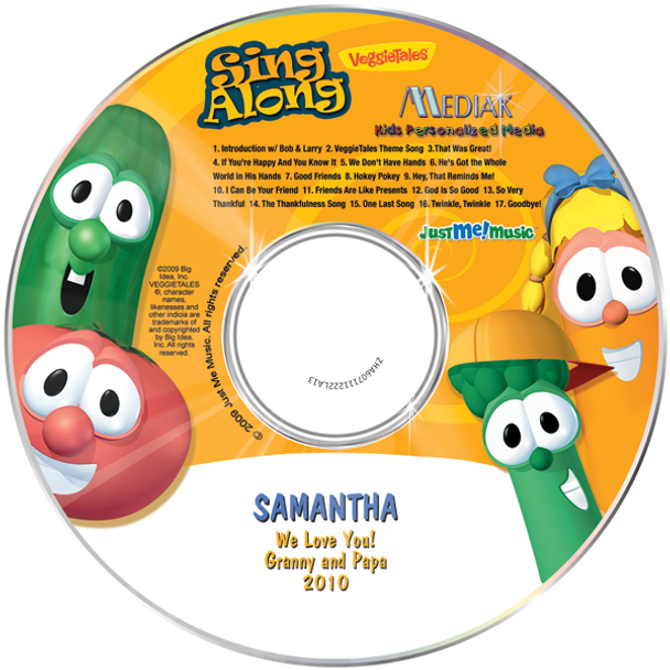 Personalized Kids Music CD Veggie Tales Sing a Long