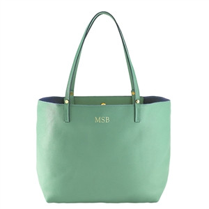 Sea Green Leather Tote