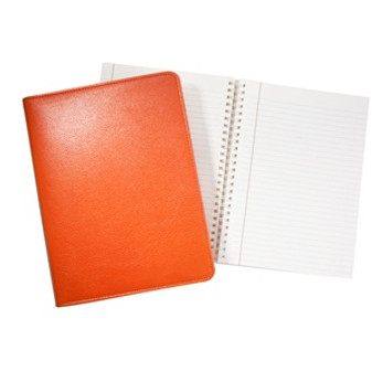 "Refillable Journal 7x9"" Bright Orange Leather - in stock!"