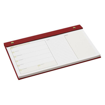 Our Classic undated desk pad is perfect for anytime, any desk.... in Tuxedo Black, Harvard Burgundy, Hunter Green, Blazer Navy, Dark Chocolate Brown, Chestnut Brown, Grape and Antique Pink  as well as Boston University Red, as shown here