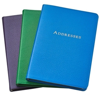 "5 3/8 x 7 3/8"" Leather Address Book - Bright Leather Colors - Sunset Purple, Grass Green, Clear Sky Blue"