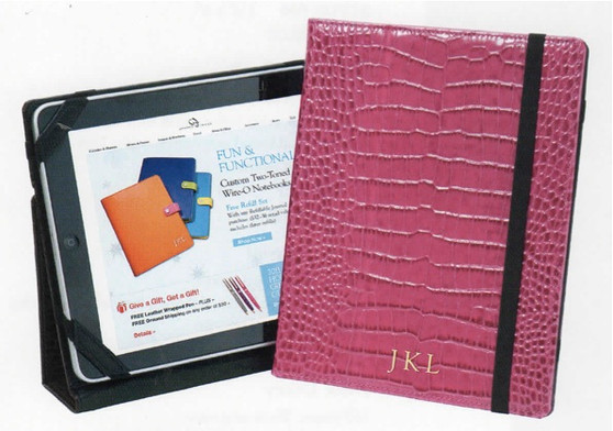 Ipad Case in Hot Pink Croc Embossed Leather