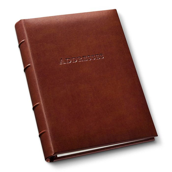 Ring Bound Forever Address Book! in Dark British Tan Recycled leather