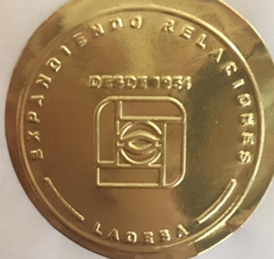 Matte Gold Smooth Round Foil with custom logo design