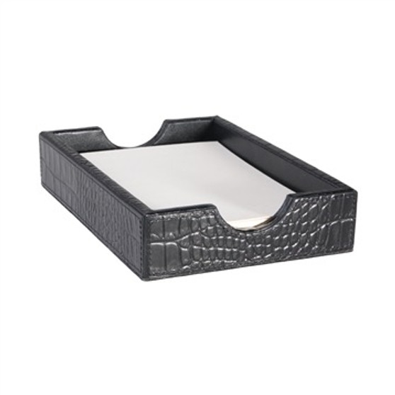 Tuxedo Black Croc Embossed Leather Desk Memo Box