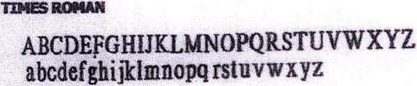 Address font Time Roman
