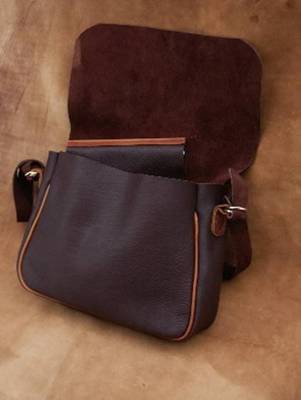 Recycled Leather Messenger Bag
