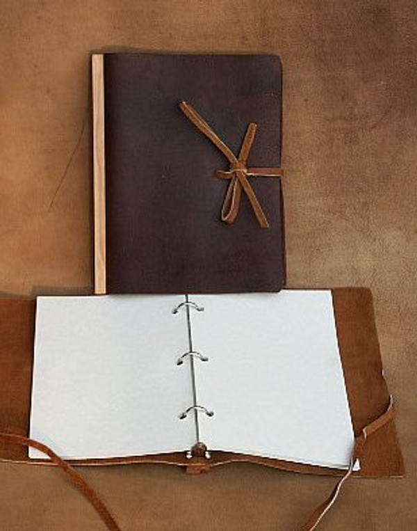 recycled leather refillable ring bound journal