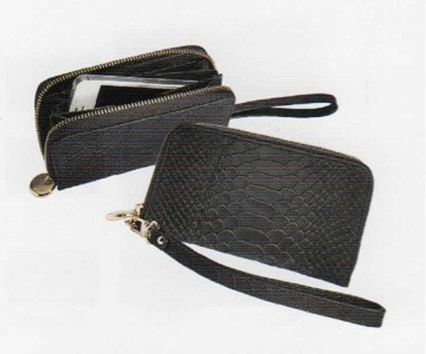 Leather Python Embossed Wristlet Phone Wallet in Black Python