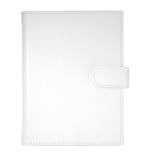 Pocket Photo Album - White Leather with Snap Closure