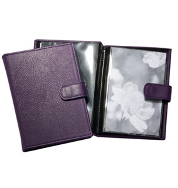 Pocket Photo Album - Purple Leather with Snap Closure